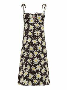 Solid & Striped - Lolita Daisy Print Satin Dress - Womens - Black Print