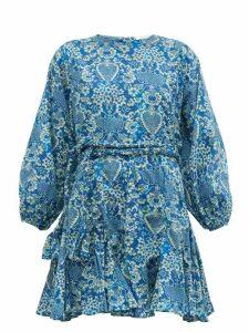 Rhode - Ella Printed Cotton Mini Dress - Womens - Blue Print