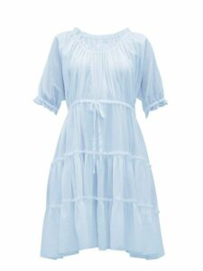 Loup Charmant - Kassos Ruffled Cotton Poplin Midi Dress - Womens - Light Blue