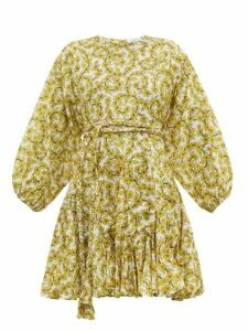 Rhode - Ella Floral Print Cotton Voile Dress - Womens - Yellow Print