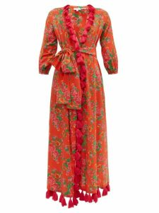 Rhode - Lena Floral Print Tassel Trim Cotton Wrap Dress - Womens - Red Print