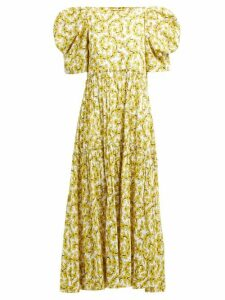 Rhode - Aurora Floral Print Tiered Cotton Dress - Womens - Yellow Print