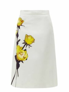 Prada - Rose Print Cotton Poplin Midi Skirt - Womens - White Print