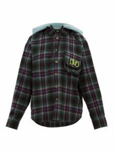 Natasha Zinko - Hooded Checked Cotton Shirt - Womens - Green Multi
