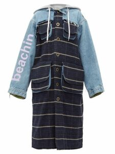 Natasha Zinko - Oversized Denim And Checked Coat - Womens - Blue Multi