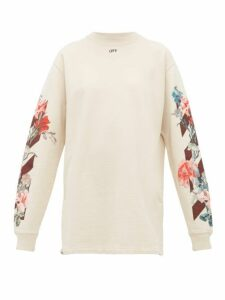 Off-white - Floral Print Cotton Mini Dress - Womens - White Multi