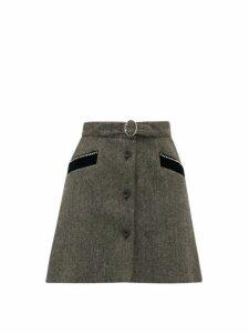 Miu Miu - Crystal Embellished Wool Herringbone Mini Skirt - Womens - Dark Grey