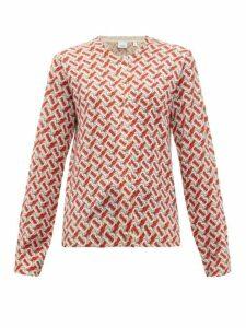 Burberry - Tb Print Wool Cardigan - Womens - Red