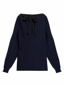 Stella Mccartney - Tie Neck Cashmere Blend Sweater - Womens - Navy
