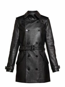 Saint Laurent - Double Breasted Leather Trench Coat - Womens - Black
