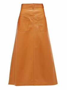 A.w.a.k.e. Mode - Ginger Back To Front Faux Leather Midi Skirt - Womens - Orange