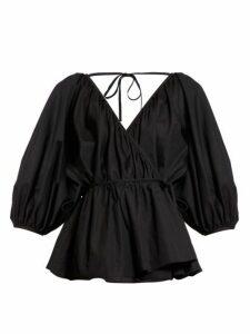 Cecilie Bahnsen - Aina Wrap Front Cotton Poplin Blouse - Womens - Black