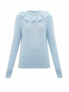 Miu Miu - Ruffled Mohair Blend Sweater - Womens - Blue