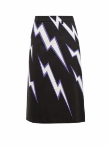 Prada - Lightning Bolt Print Cotton Poplin Skirt - Womens - Black Multi
