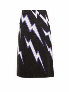 Prada - Lightning Bolt Print Cotton Poplin Skirt - Womens - Black Multi