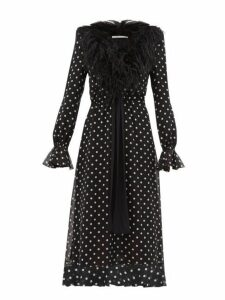 Alessandra Rich - Marabou Trimmed Polka Dot Silk Midi Dress - Womens - Black White