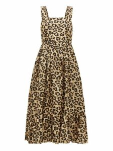 Shrimps - Sylvia Leopard Print Silk Dress - Womens - Leopard