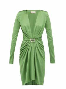 Alexandre Vauthier - Crystal Buckle Silk Blend Charmeuse Mini Dress - Womens - Green