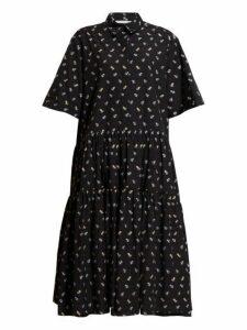 Cecilie Bahnsen - Primrose Tiered Floral Jacquard Cotton Shirtdress - Womens - Black Blue