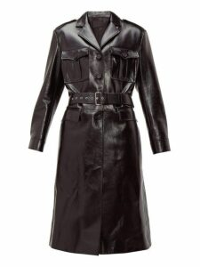 Prada - Single Breasted Leather Coat - Womens - Black