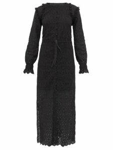 Sir - Amelia Broderie Anglaise Cotton Maxi Dress - Womens - Black
