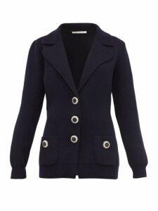 Alessandra Rich - Crystal Button Wool Cardigan - Womens - Navy