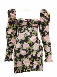 Alessandra Rich - Puff Sleeve Rose Print Silk Mini Dress - Womens - Black Pink