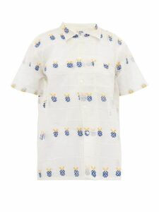 Bode - Apple Embroidered Sheer Cotton Bowling Shirt - Womens - White Multi