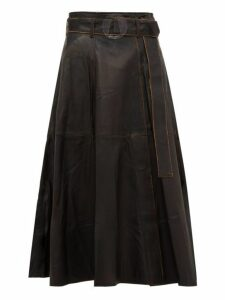 Golden Goose - Akemi Belted A Line Leather Midi Skirt - Womens - Black