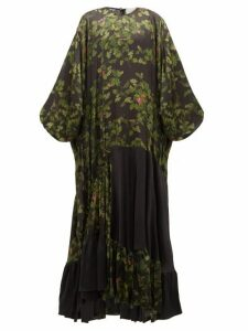 Preen By Thornton Bregazzi - Harper Leaf Print Satin Maxi Dress - Womens - Black Multi