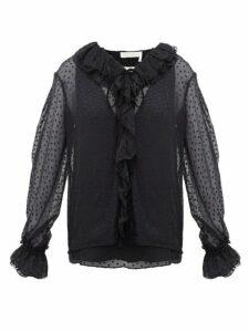 Chloé - Ruffled Flocked Silk Blend Blouse - Womens - Black