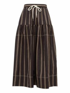 Lee Mathews - Granada Striped Tiered Ramie Voile Skirt - Womens - Black