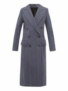 Ann Demeulemeester - Double Breasted Wool Blend Coat - Womens - Blue