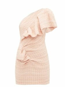 Alexandre Vauthier - One Shoulder Wool Blend Tweed Mini Dress - Womens - Light Pink