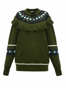 Miu Miu - Floral Embroidered Wool Sweater - Womens - Green Multi