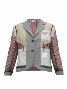 Thom Browne - Inside Out Wool Blend Single Breasted Blazer - Womens - Grey Multi
