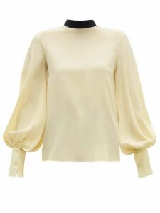 Roksanda - Cala Bishop Sleeve Silk Crepe De Chine Blouse - Womens - Light Yellow