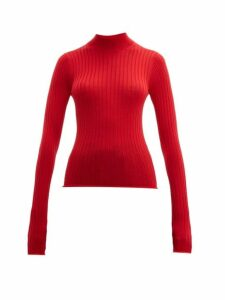 Acne Studios - Kulia High Neck Ribbed Wool Sweater - Womens - Red