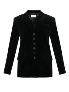 Saint Laurent - Seven Button Cotton Velvet Blazer - Womens - Black