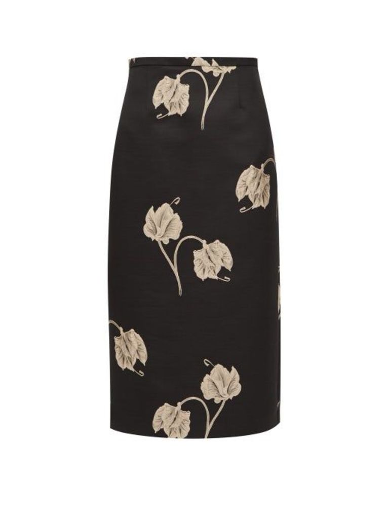 Rochas - Oncidium Embroidered Orchid Pencil Skirt - Womens - Black