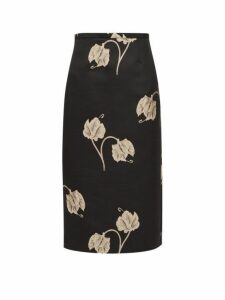Rochas - Oncidium Embroidered-orchid Pencil Skirt - Womens - Black