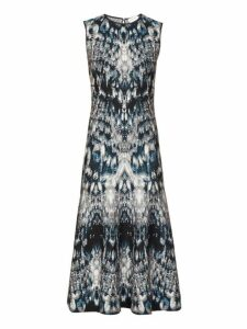Alexander Mcqueen - Sleeveless Crystal Jacquard Midi Dress - Womens - Blue Multi