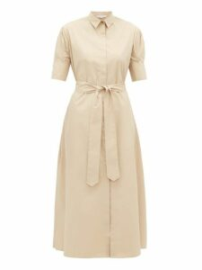 White Story - Antonia Belted Cotton Shirtdress - Womens - Beige