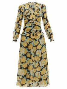 Miu Miu - Rose Print Crystal Embellished Georgette Dress - Womens - Black Multi