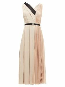 Prada - Belted Pleated Twill Midi Dress - Womens - Light Pink