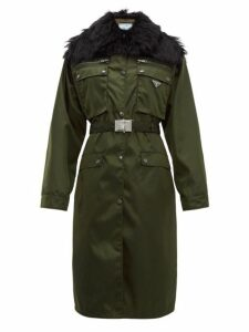 Prada - Faux-fur Trim Single-breasted Nylon Coat - Womens - Green Multi
