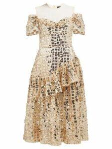 Simone Rocha - Ruffled Sequinned Midi Dress - Womens - Gold