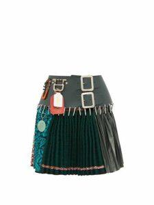 Chopova Lowena - Leather Panel Recycled Wool Blend Skirt - Womens - Green