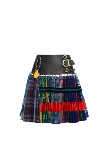 Chopova Lowena - Tartan And Recycled Tapestry Skirt - Womens - Blue Multi