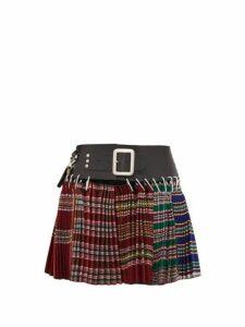 Chopova Lowena - Pleated Recycled Wool Jacquard Mini Skirt - Womens - Red Multi